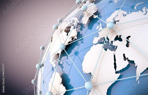 Photo  concepto de internet y trabajo en red con mapa del mundo