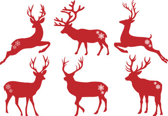 Fototapeta Christmas deer stags, vector set