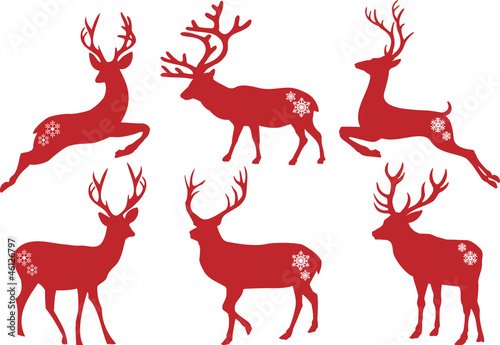 Fotografie, Obraz  Christmas deer stags, vector set