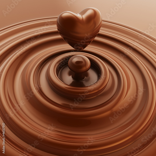 Obraz Heart symbol made of liquid chocolate - fototapety do salonu