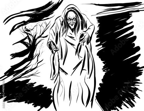 Fotografia, Obraz croquis noir et blanc vieille,horrible sorcière des bois