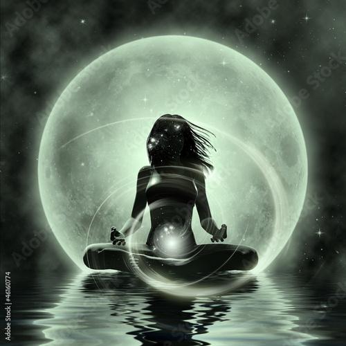 Fotografie, Obraz  Magic Yoga - Moonlight Meditation
