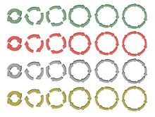 Set Of 3d Cycling Arrows Vector Illustration