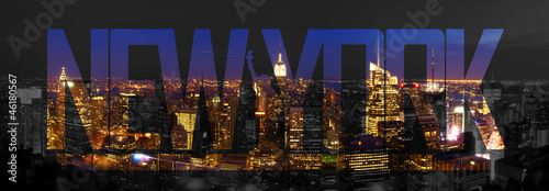 Photo sur Toile New York TAXI New York City Skyline Night