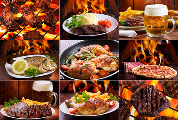 Fototapeta Do steakhouse collage of various meat products