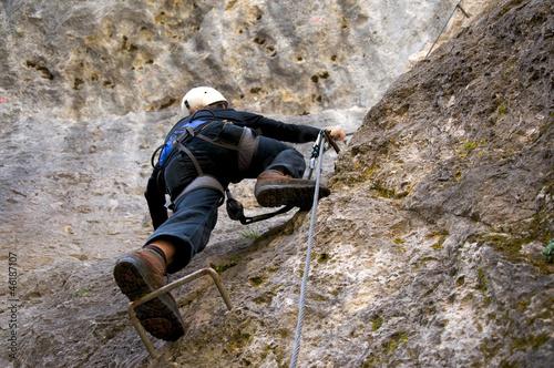 Foto op Canvas Alpinisme Bergsteiger in den Dolomiten - Alpen