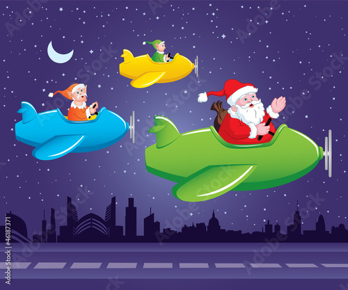 Poster Vliegtuigen, ballon Santa and Elves in Aeroplane