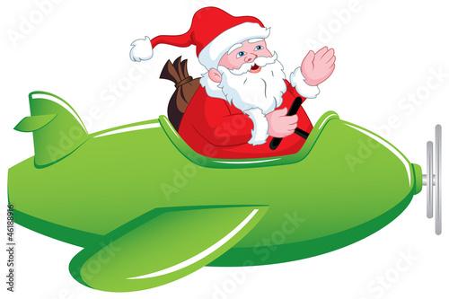 Montage in der Fensternische Flugzeuge, Ballons Santa in Airplane