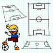 Hand draw soccer field . Vector