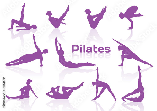 Photo  Pilates poses in violet silhouettes