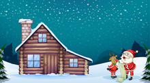 A Santa Claus And A Reindeer