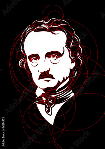 Fotografía Edgar Allan Poe portrait mad with circles