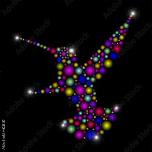 Hummingbird Colorful Abstract Art Design-Colibri Astratto Colori