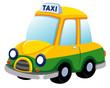 illustration of Cartoon taxi car on white