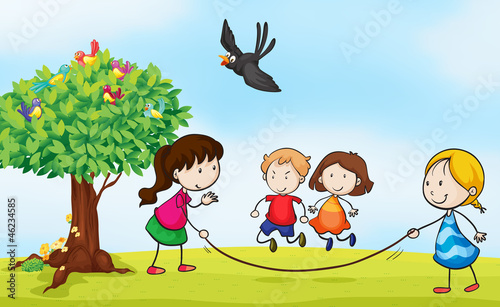 Poster Oiseaux, Abeilles kids and a tree