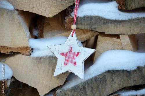 Foto-Leinwand ohne Rahmen - Weihnachten Holz Stern Vintage (von sonne_fleckl)