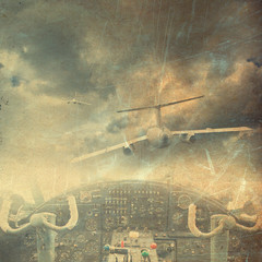 Fototapeta Retro aviation, vintage background