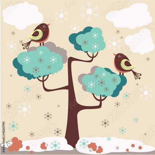 Winter background - birds on a tree