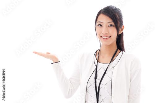 Fotografía  attractive asian businesswoman on white background