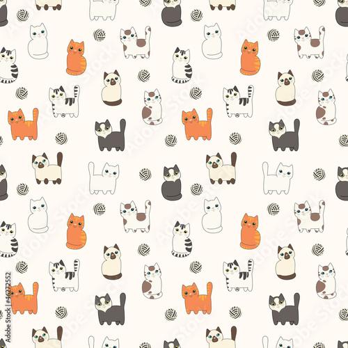Śmieszne koty kreskówek. Wzór