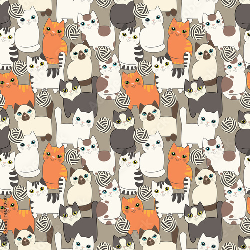 Funny cartoon cats. Seamless pattern - 46272583