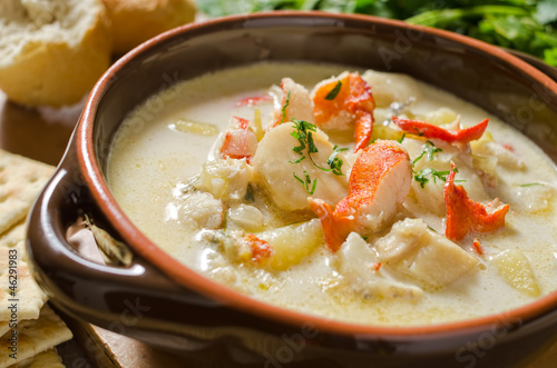Photo Stands Seafoods Creamy seafood chowder.