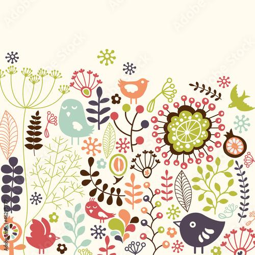 Fototapety wzory ludowe   kolorowa-kwiecista-karta-z-malymi-ptakami