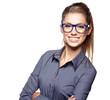 Leinwanddruck Bild - Portrait of a beautiful young woman wearing glasses