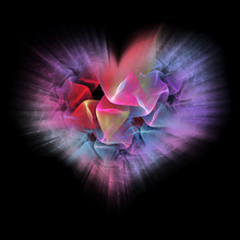 Flaming Fractal Heart On Black