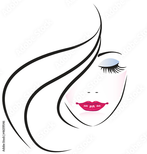 Face of pretty woman silhouette vector #46319546