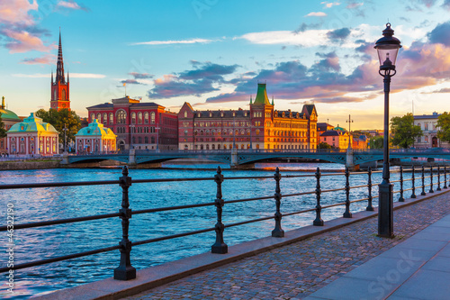 Scenic sunset in Stockholm, Sweden Canvas Print