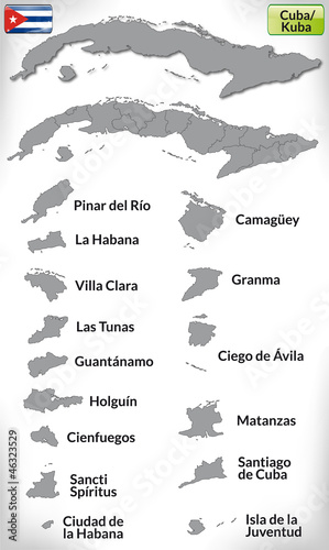 Übersichtskarte von Kuba mit Grenzen und Flagge Wallpaper Mural