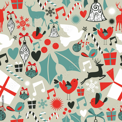 Cotton fabric Christmas icons seamless pattern