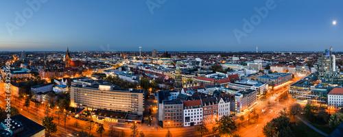 Photo Stands Panorama Photos Panorama Hannover zur blauen Stunde