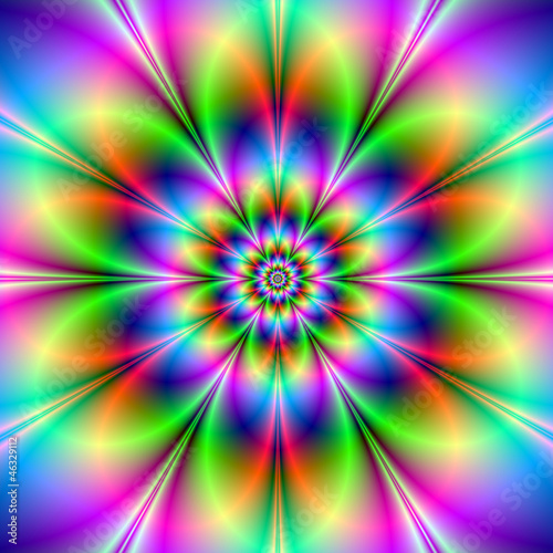 Poster Psychedelic Flower in Neon