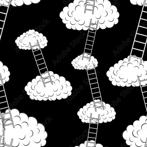 Poster Ciel Clouds with stairs, seamless wallpaper