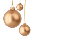 Gold Christmas Balls Isolated ...