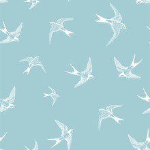Blue Seamless Pattern With White Little Swallows