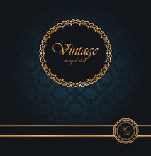 Vintage Seamless Wallpaper With A Ribbon And Frame