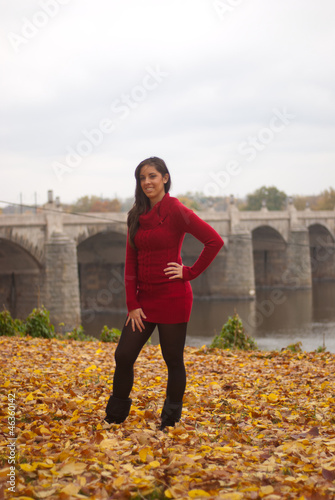 Fotografie, Obraz  Young lady in red standing on leaves in front of bridge
