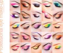 Set Of Colorful Make-up On Closed Eyes - Vibrant Colors