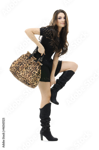 Urban casual young fashion female posing in Isolated Studio Poster