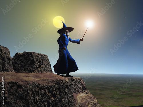 Valokuva  Mago utilizando su varita mágica