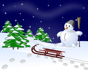 Snow Man and meadow at night