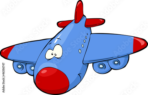 Fotobehang Vliegtuigen, ballon Cartoon airplane