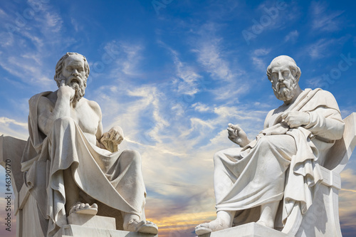 Obraz Plato and Socrates,the greatest ancient greek philosophers - fototapety do salonu