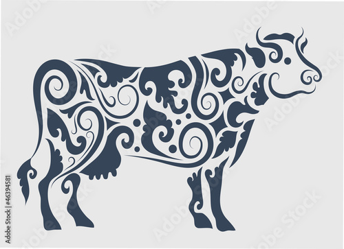 Cow tattoo vector