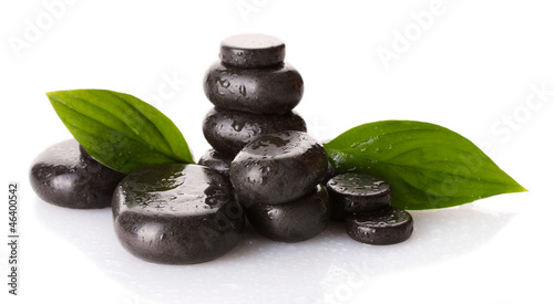 Akustikstoff - Spa stones with drops and green leaves isolated on white (von Africa Studio)