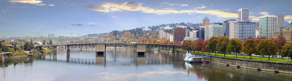 Fototapety, obrazy: Portland Oregon Downtown Skyline and Bridges