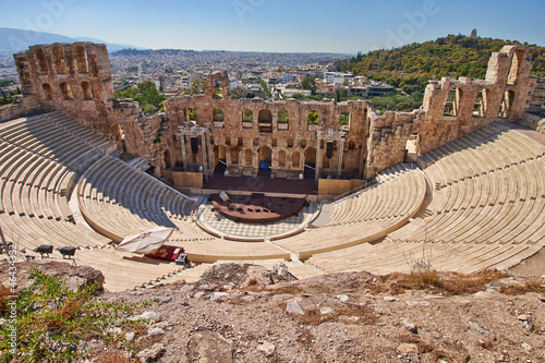 Tuinposter Athene ancient theatre under Acropolis of Athens, Greece